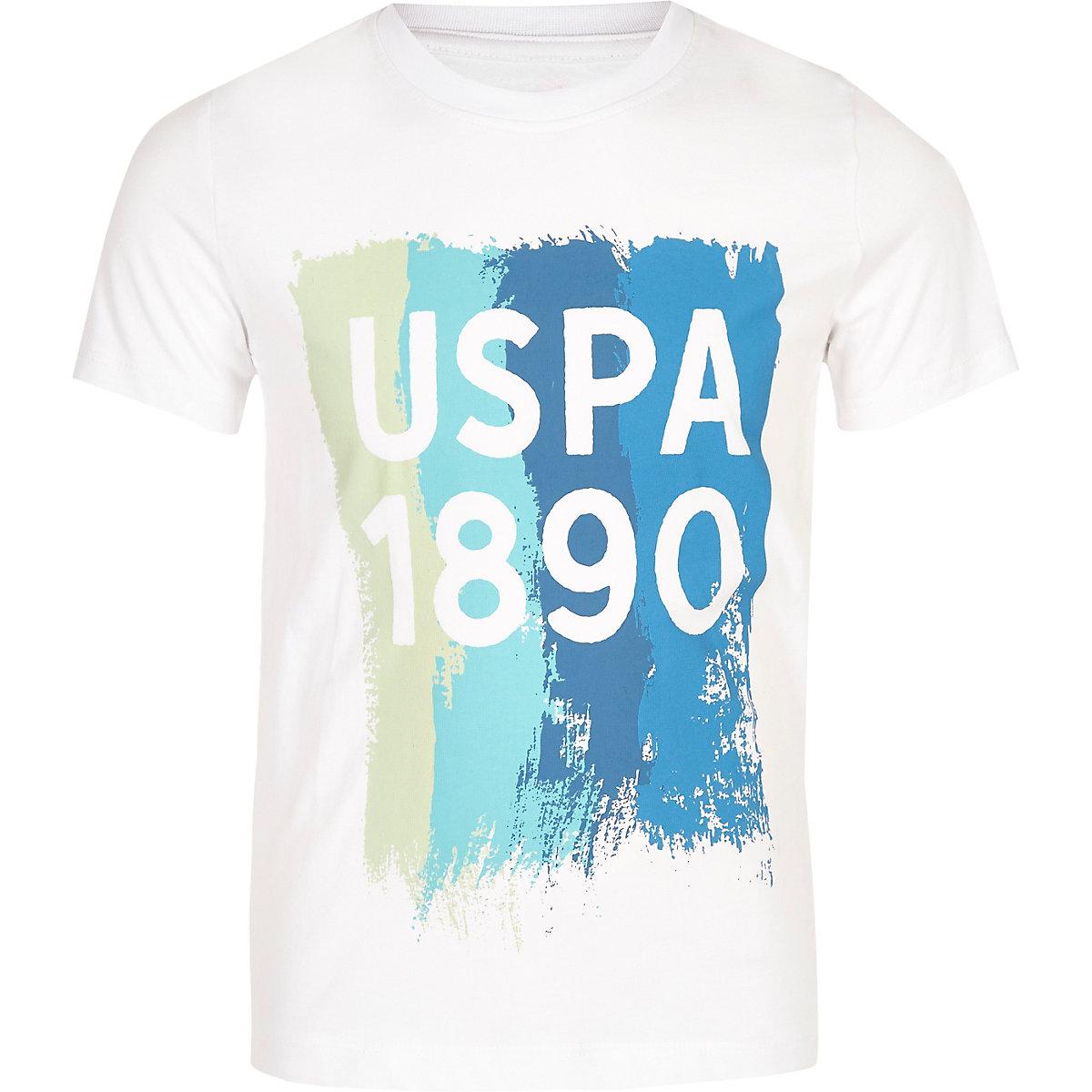 Boys white U.S. Polo Assn. 1890 T-shirt