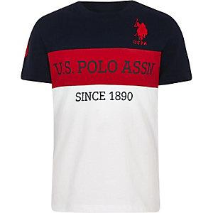 U.S. Polo Assn. – T-shirt colour block bleu marine pour garçon