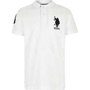 Boys white U.S. Polo Assn. polo shirt