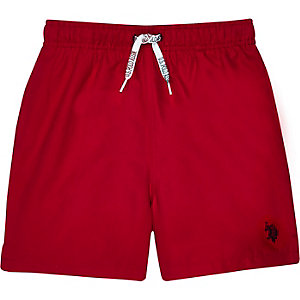 Boys red U.S. Polo Assn. swim trunks