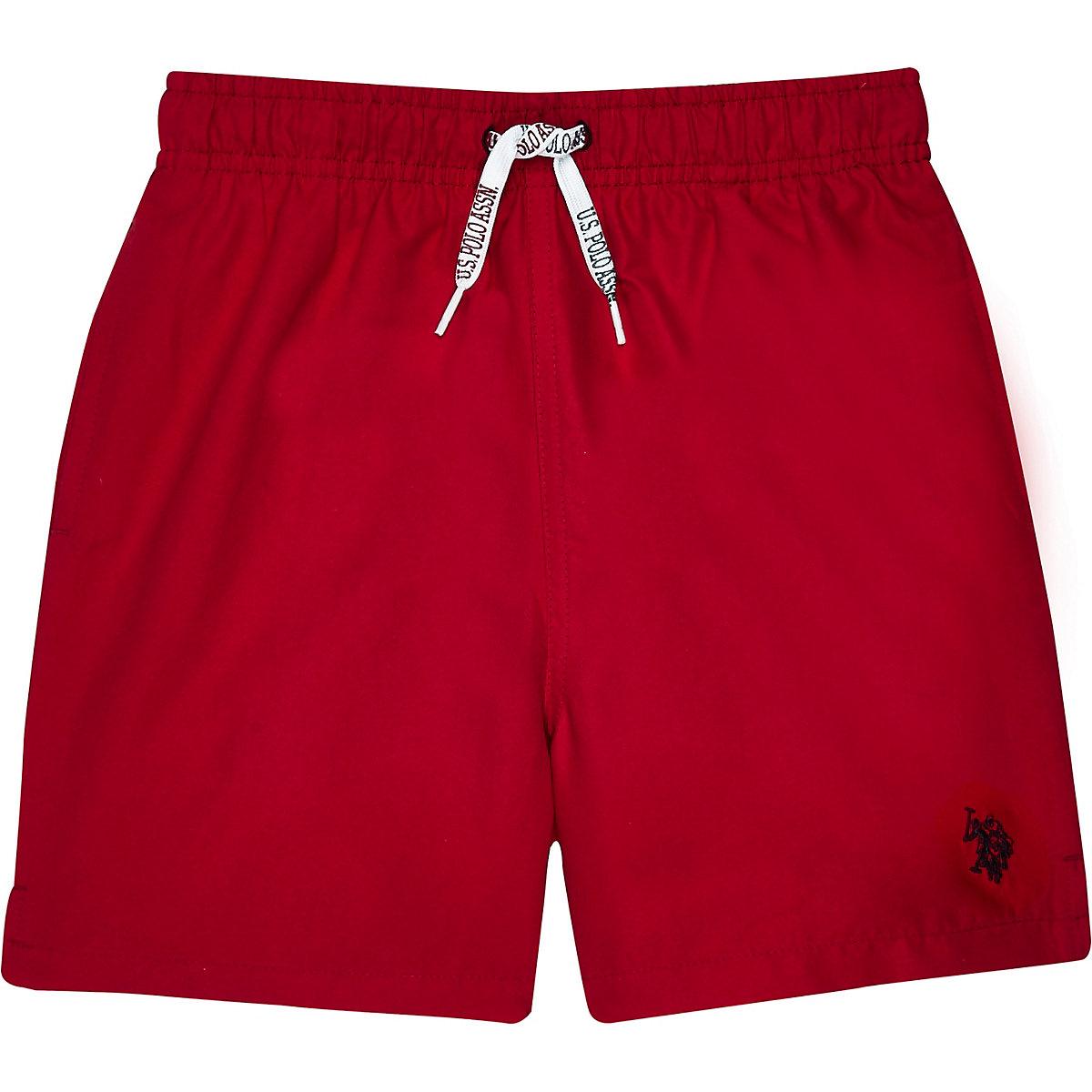 Boys red U.S. Polo Assn. swim shorts
