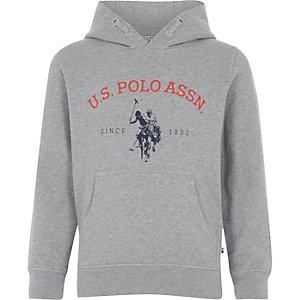 U.S. Polo Assn. – Sweat à capuche gris chiné pour garçon
