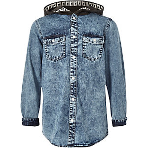 Boys blue hooded denim shirt