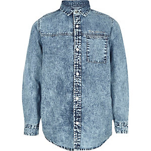 Boys blue acid denim shirt