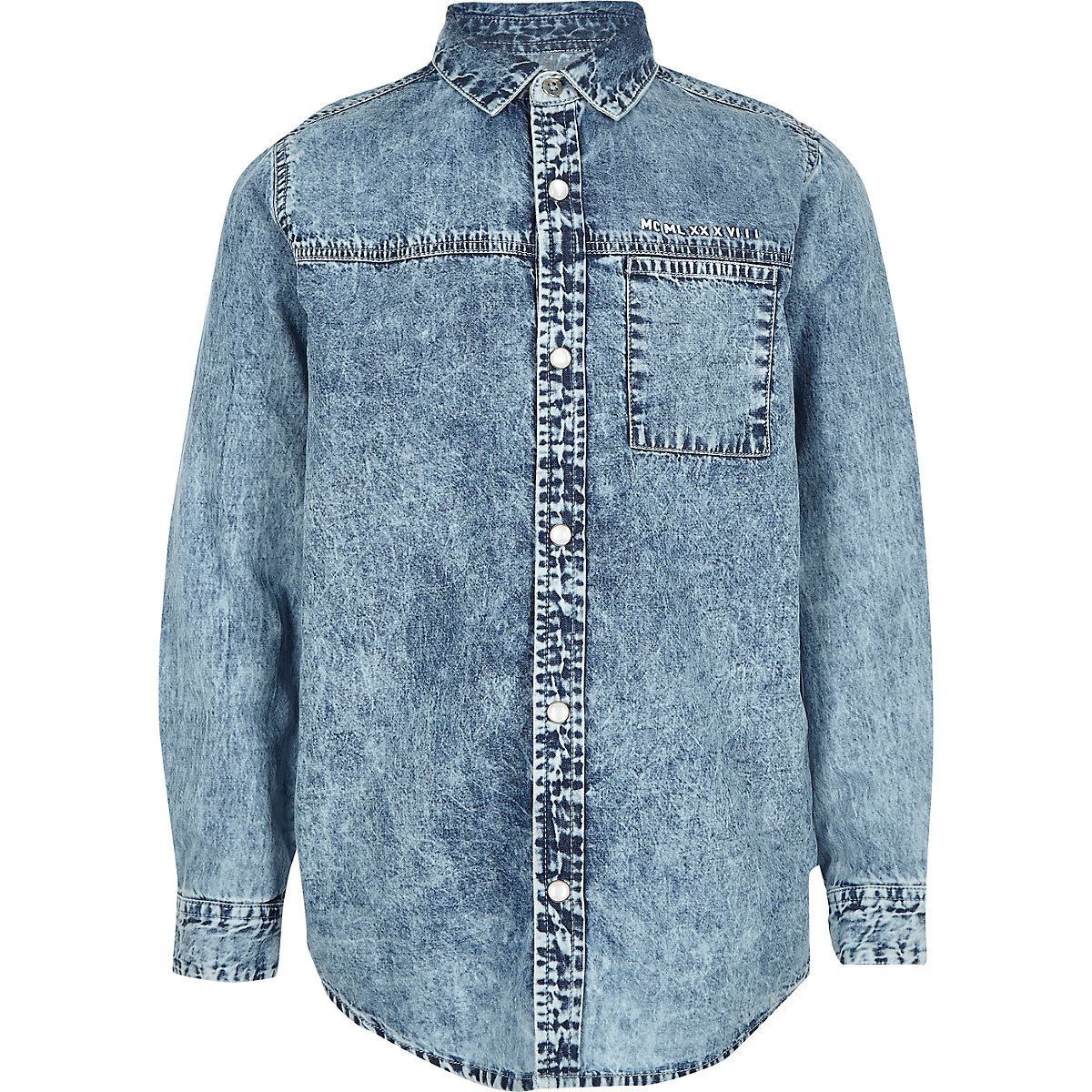 Boys blue acid denim shirt