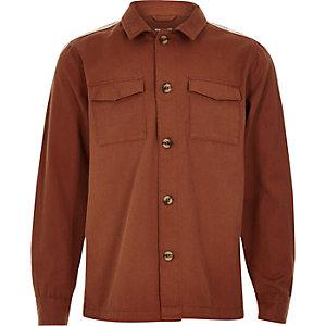 Veste chemise rouille avec manches longues à bandes pour garçon