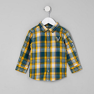 Mini boys green venti check shirt