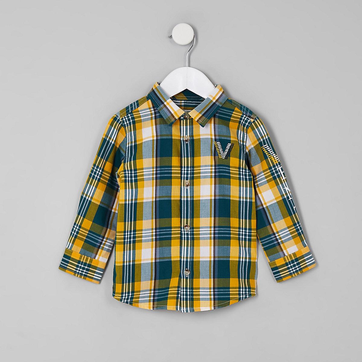 Mini boys green venti check shirt