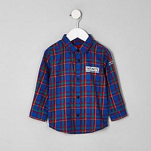 Chemise « Infinite » à carreaux bleue pour mini garçon