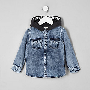 Mini boys blue hooded denim shirt