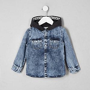 Mini - Blauw denim overhemd met capuchon voor jongens