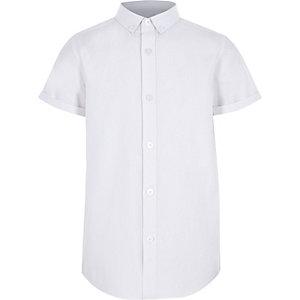 Wit overhemd met RI-logo en korte mouwen voor jongens
