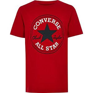 Converse – Rotes T-Shirt mit Logo