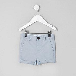 Short chino slim bleu habillé pour mini garçon