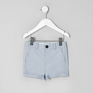 Mini - Blauwe slim-fit nette chinoshort voor jongens