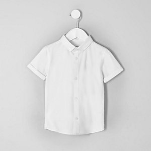 Chemise blanche à logo RI et manches courtes mini garçon
