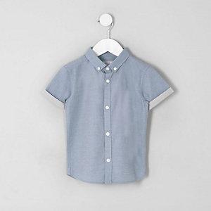Chemise RI bleue à manches courtes mini garçon