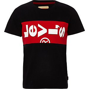 Boys Levi's black logo branded T-shirt