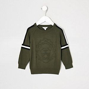 Mini boys khaki embossed sweater