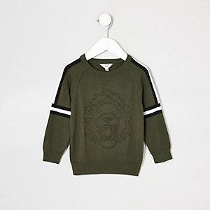 Mini - Kaki pullover met reliëf voor jongens
