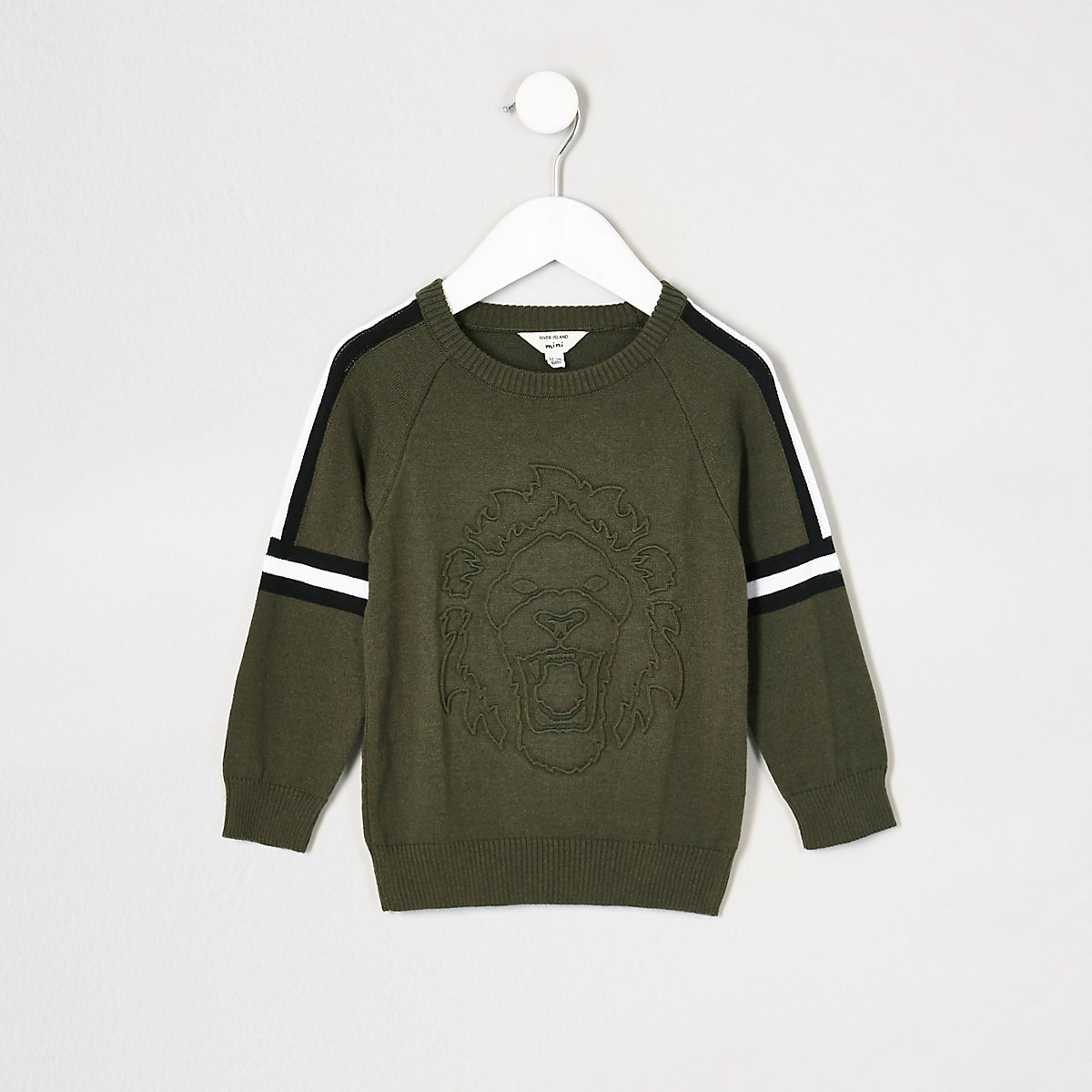 Mini boys khaki embossed jumper