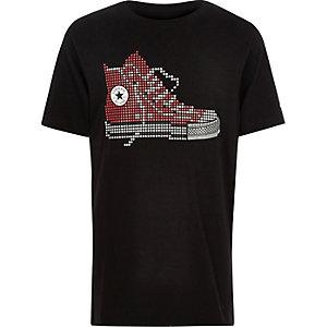 Converse – T-shirt imprimé pixel noir pour garçon