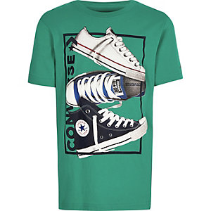 Boys Converse green print T-shirt