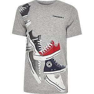 Converse – T-shirt à imprimé gris pour garçon