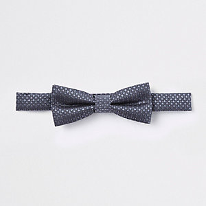 Boys dark grey jacquard bow tie