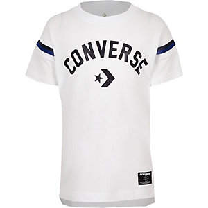 Boys white Converse logo split hem T-shirt