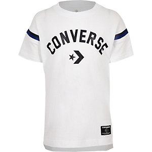 T-shirt blanc à logo Converse et ourlet fendu pour garçon
