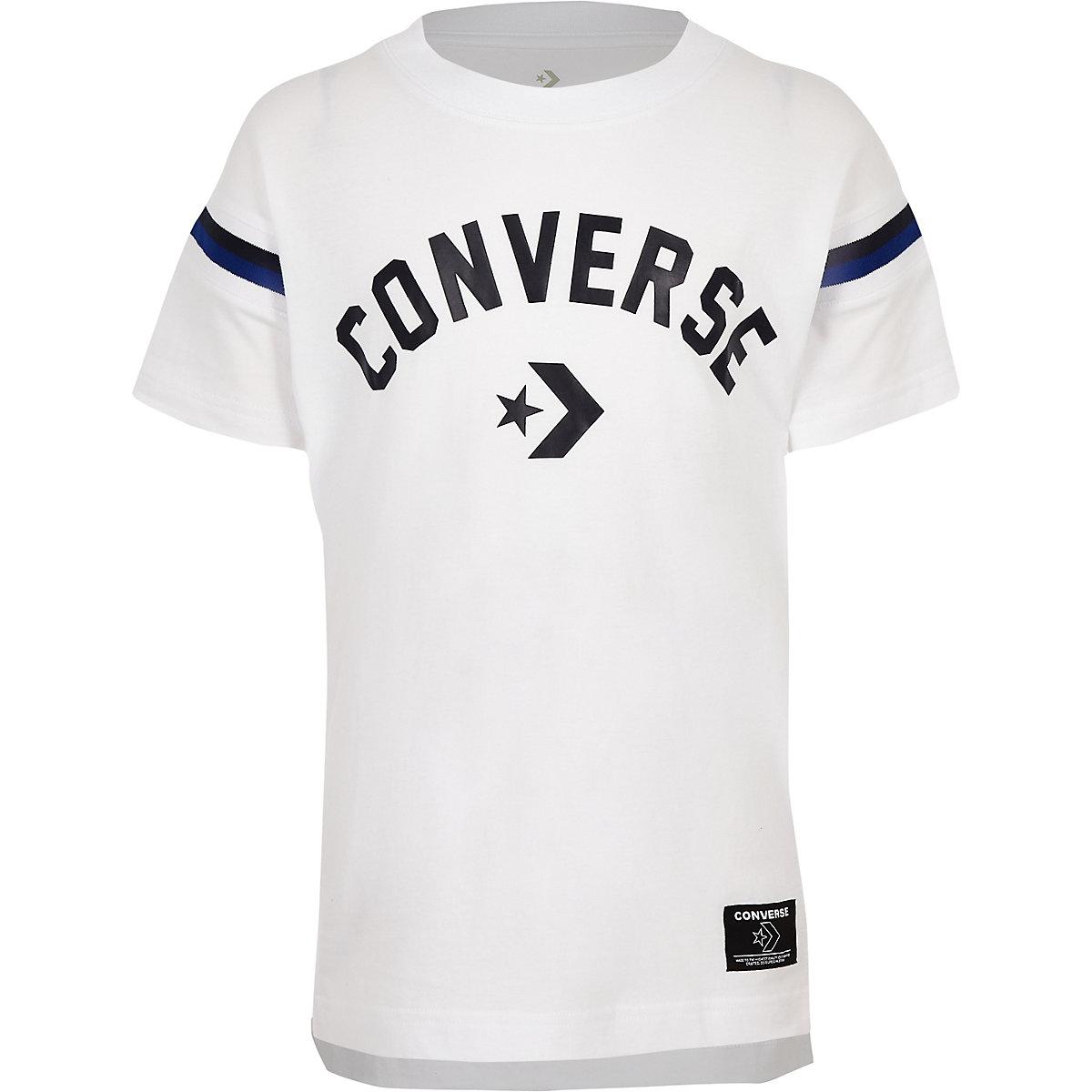 Boys white Converse logo split hem T-shirt