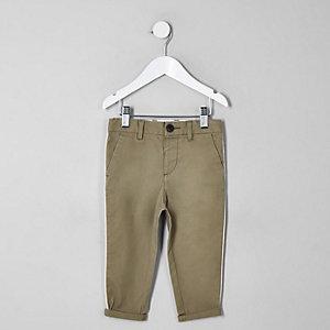 Mini boys green slim fit pipe smart trousers