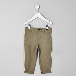 Mini boys green slim fit pipe smart pants