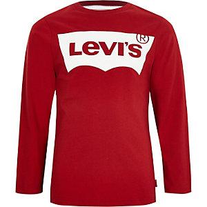 Levi's - Rood T-shirt met lange mouwen voor jongens
