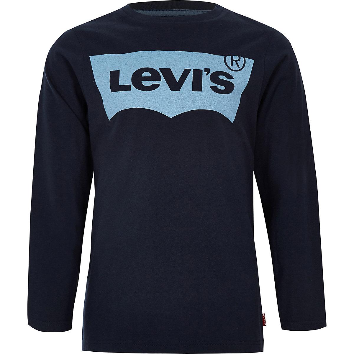 Boys Levi's navy long sleeve T-shirt
