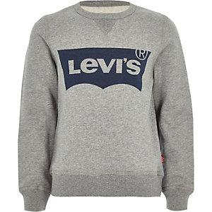 Levi's jongenspullover met logo en ronde hals in grijs