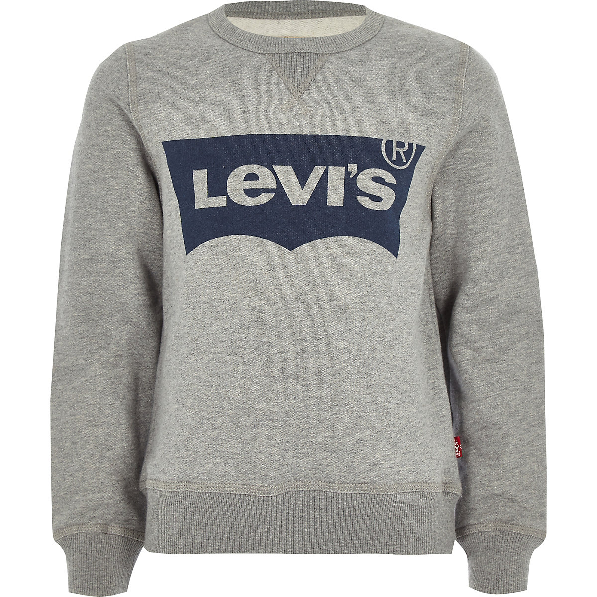 Boys Levi's grey crew neck logo jumper