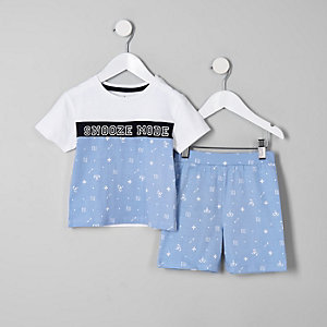 Mini boys blue 'Snooze mode' pajama set