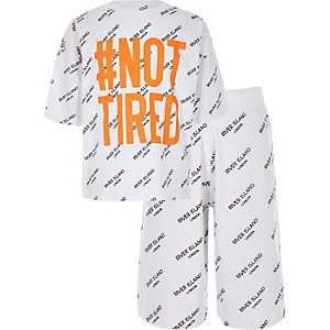 Boys white 'Not tired' pyjama set