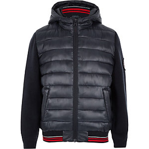 Boys navy hybrid puffer jacket