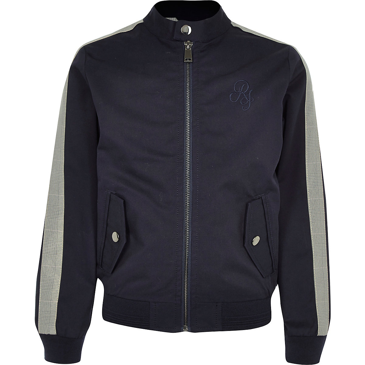 Boys navy racer neck jacket
