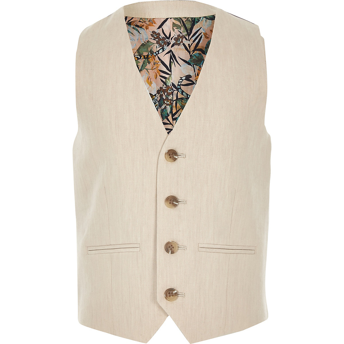 Boys cream linen suit vest