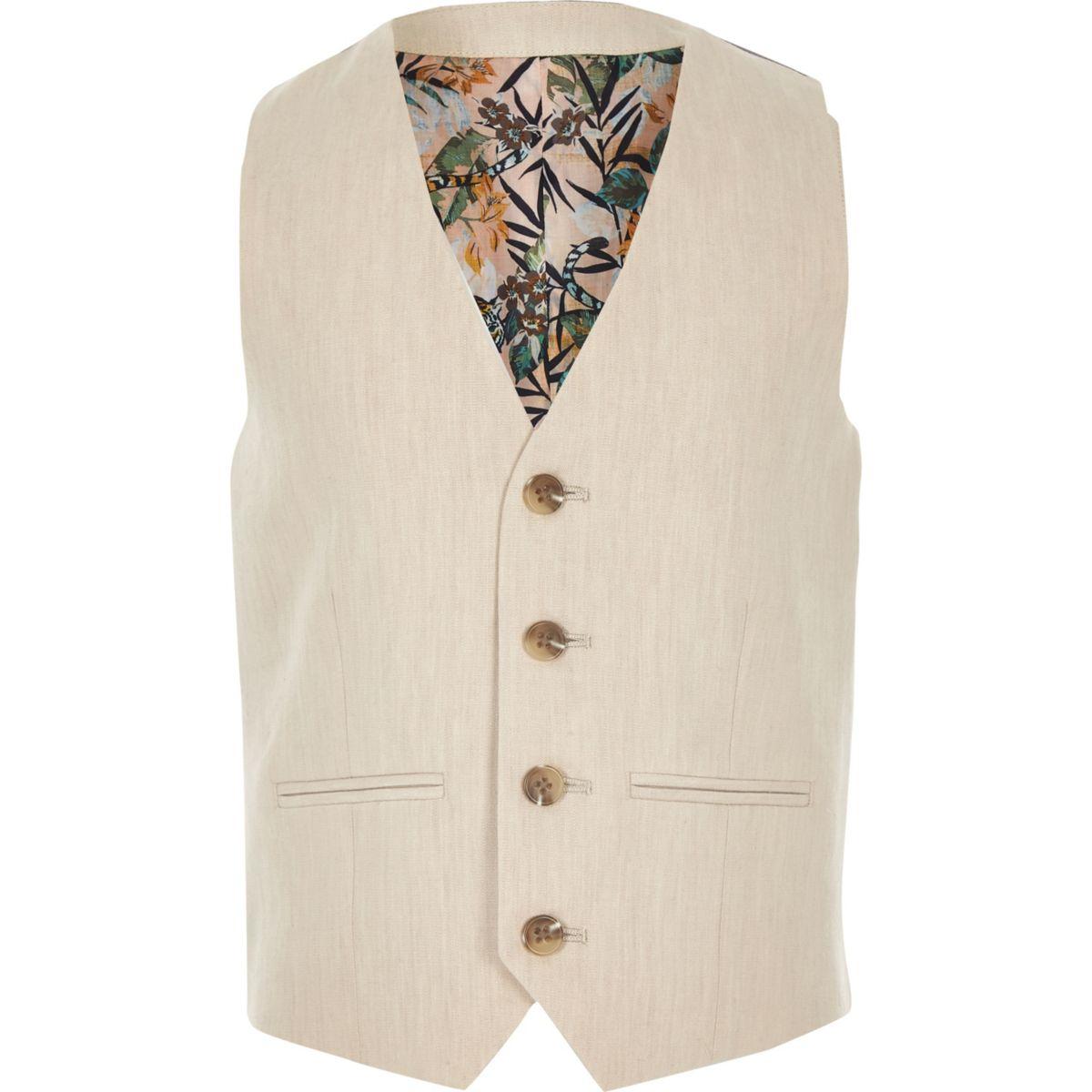 Boys cream linen suit vest