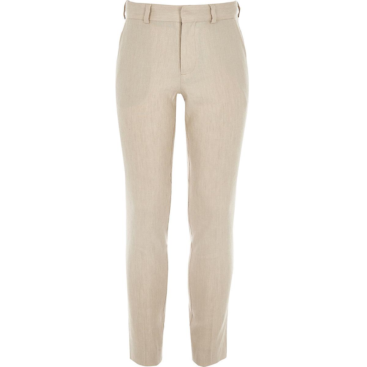 Boys ecru linen suit pants