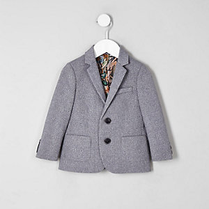Mini boys grey floral lined blazer