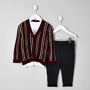 Mini boys dark red stripe cardigan set