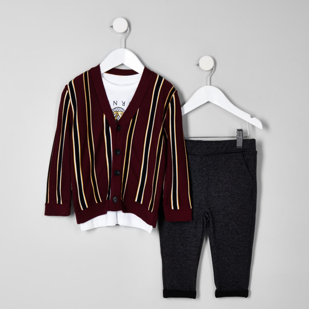 Mini boys dark red stripe cardigan set