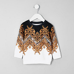 Mini boys white baroque sweatshirt