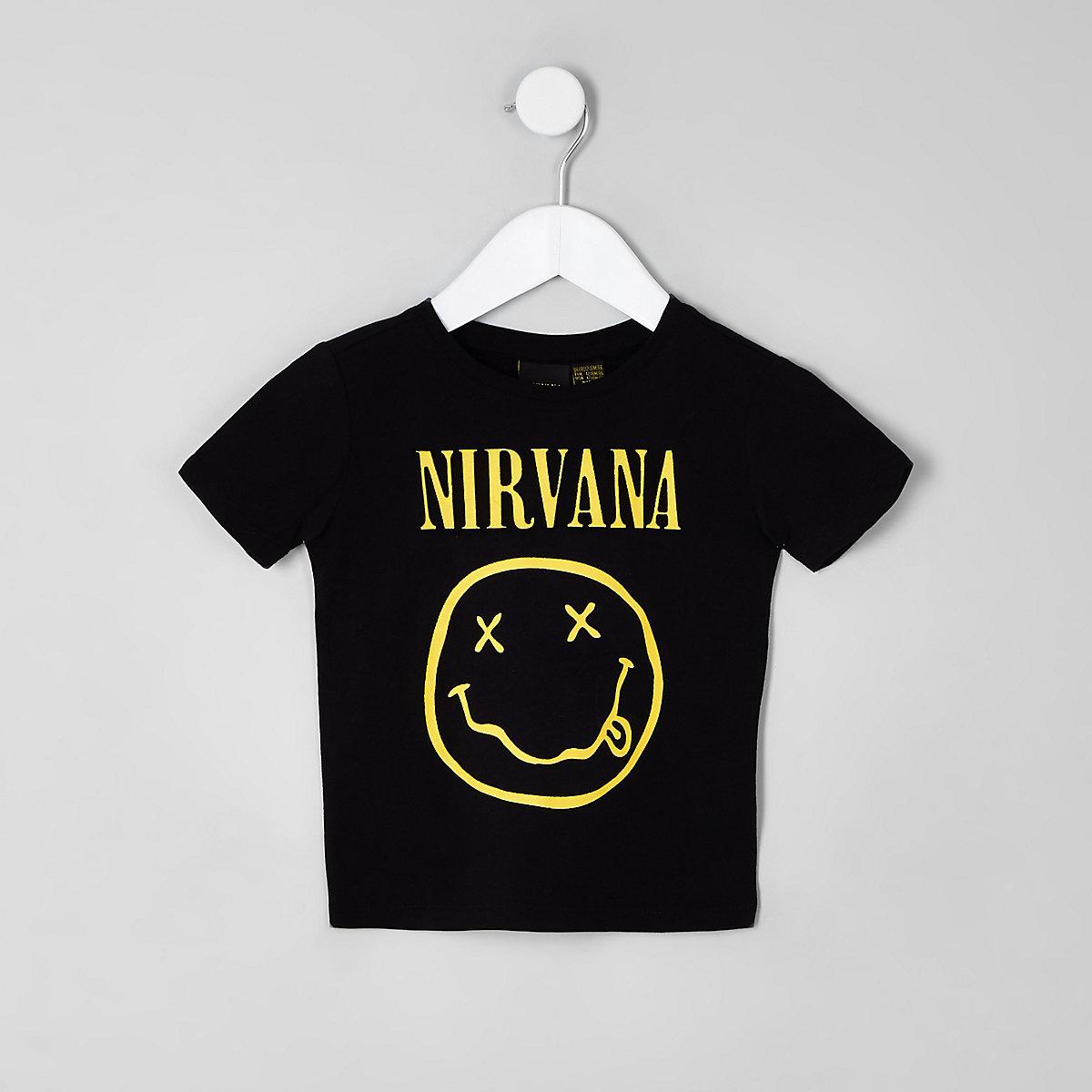 Mini boys black 'Nirvana' print T-shirt